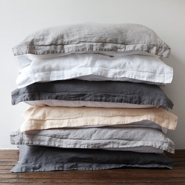 French Linen Pillowcases in Stone