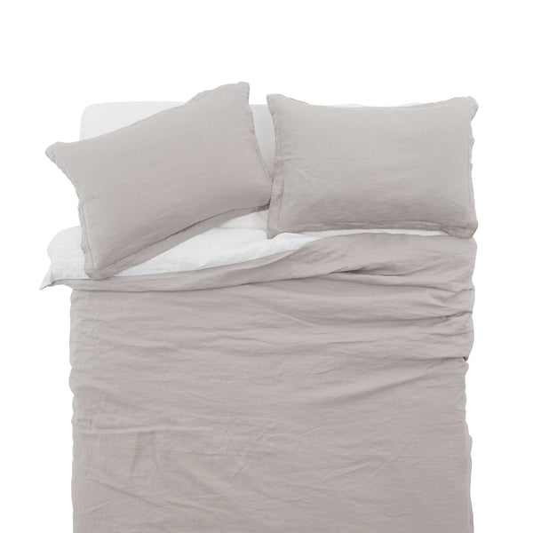 French Linen Duvet Cover Set in Stone