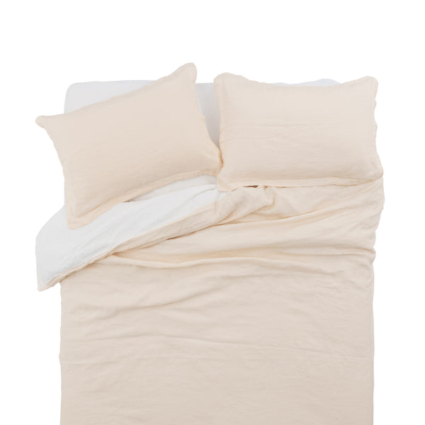 French Linen Duvet Cover Set in Just Peach