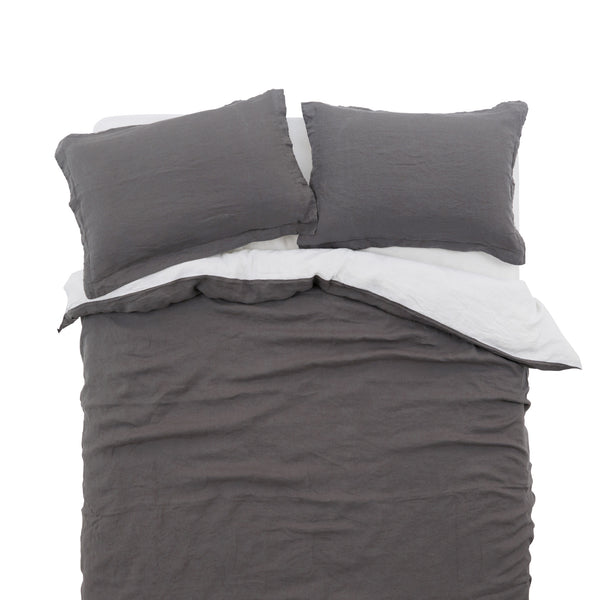 French Linen Duvet Cover Set in Charcoal