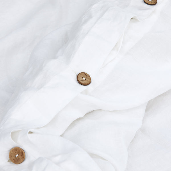 French Linen Quilt Cover Set in White