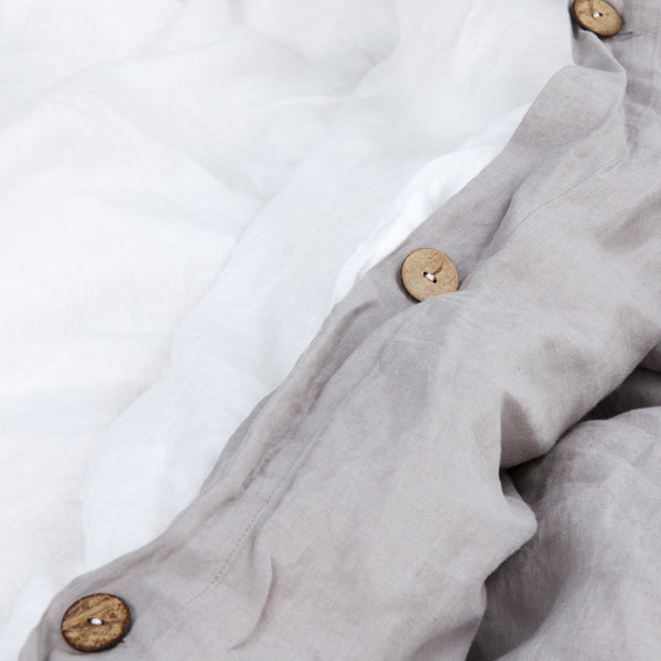 French Linen Duvet Cover in Stone