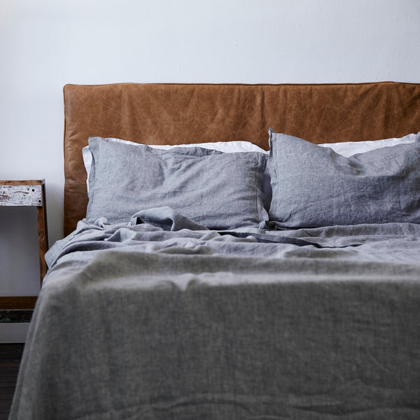 French Linen Sheet Set in Chambray Grey