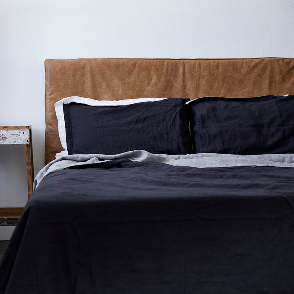 French Linen Pillowcases in Chambray Grey/Navy