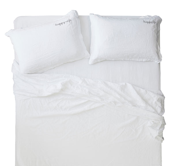 french linen luxury sheet set in white
