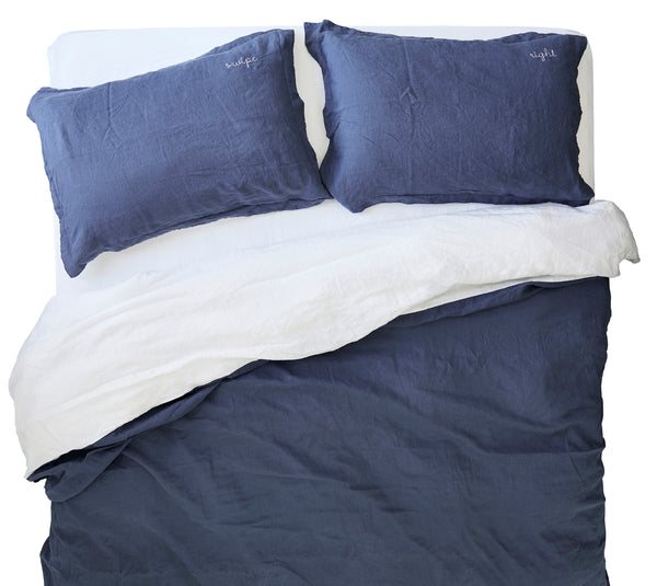 French Linen Duvet Cover Set in Ocean Blue/White