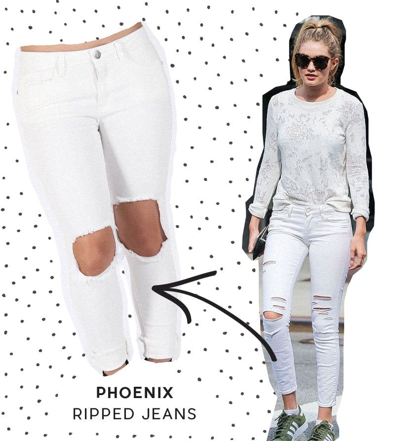 Phoenix Ripped Skinny Jeans - White | STATUS COLLECTIVE