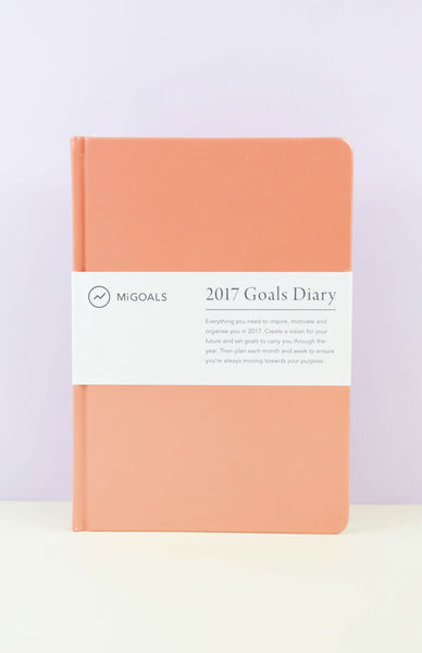 2017 Goals Diary: A5 Hardcover Diary - Coral Front