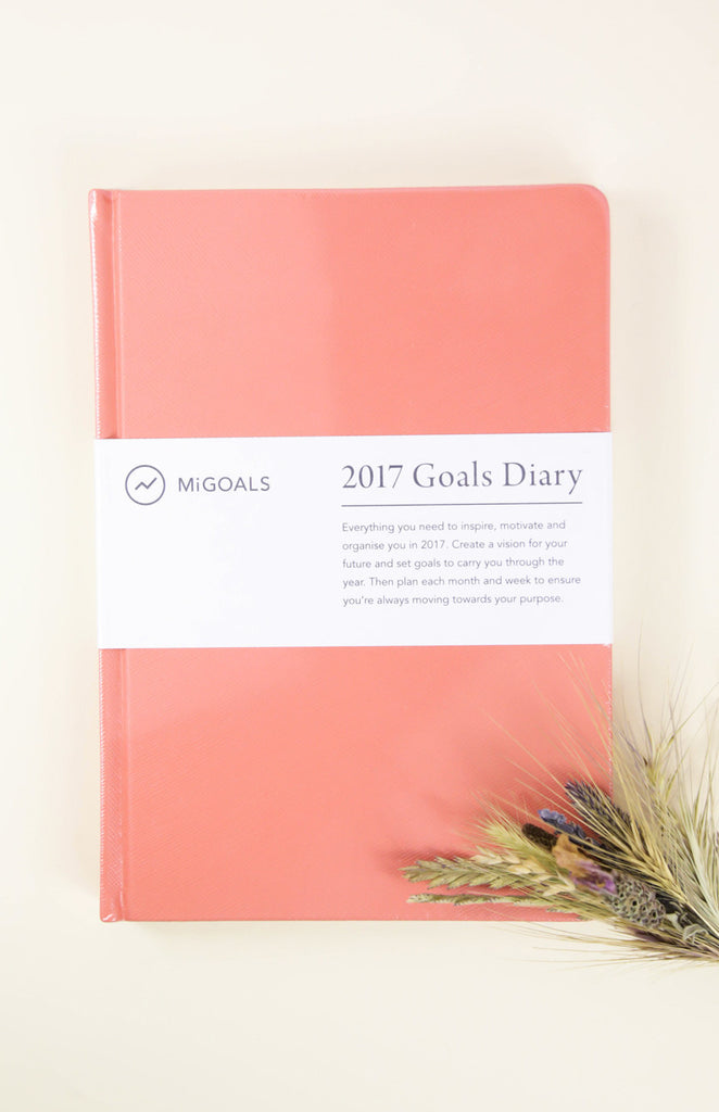 2017 Goals Diary: A5 Hardcover Diary - Coral