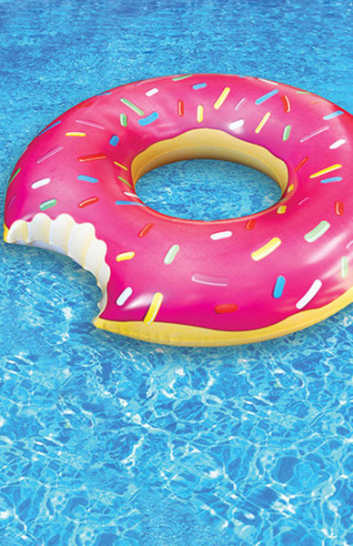 Giant Strawberry Donut Pool Float Lifestyle Shot