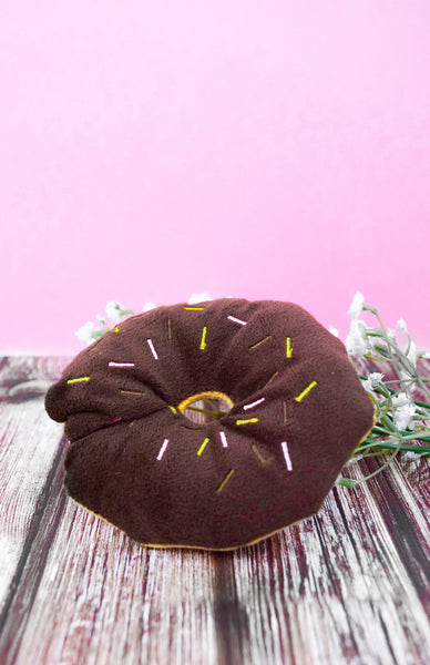 Donut Chew Toy - Chocolate Close Up