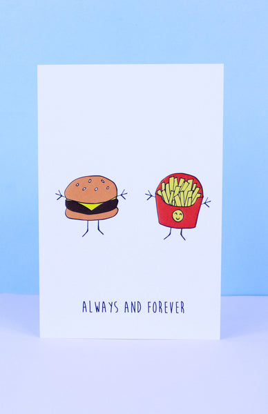 'Always and Forever' Burger and Fries Greeting Card