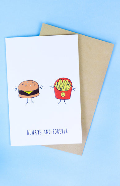 'Always and Forever' Burger and Fries Greeting Card with envelope