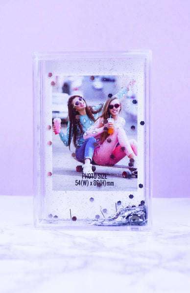 Polaroid Glitter Photo Frame - Silver with falling glitter