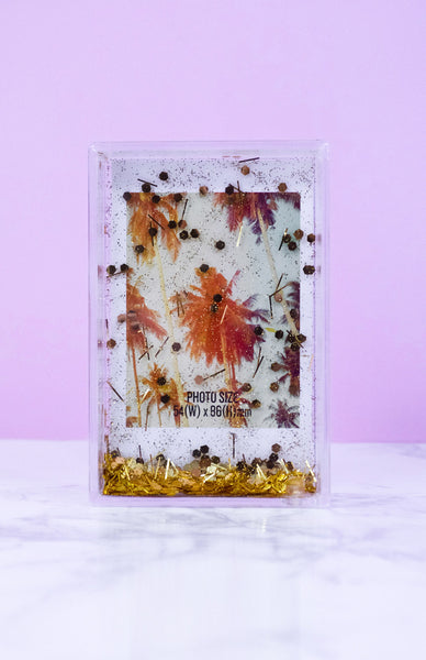 Polaroid Glitter Photo Frame - Gold with falling glitter