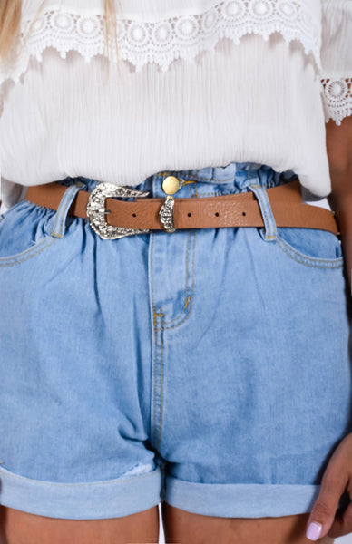 Western Belt - Light Tan Detail
