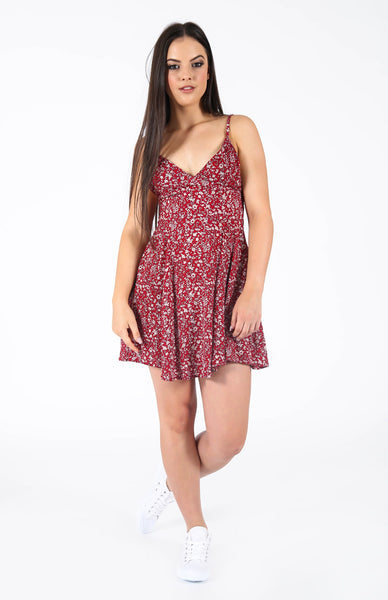 Montana Red Floral Dress Front