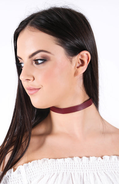 Soho Choker - Red Leather