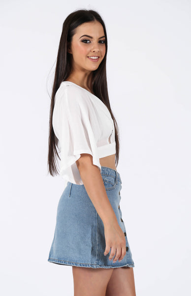 Georgia Blue Denim Skirt Side