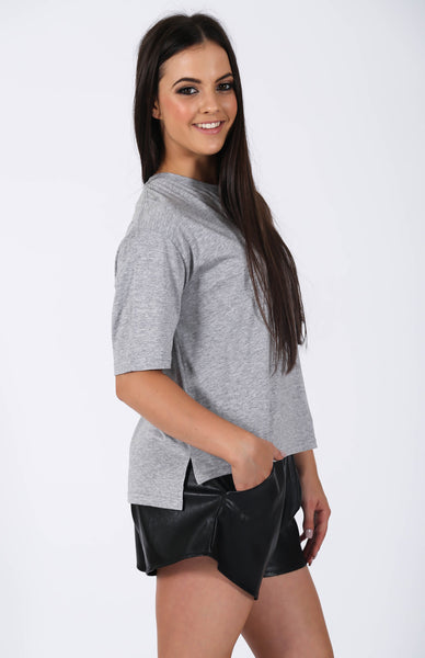 nANA jUDY Basic Boxy Tee Grey Marle Side