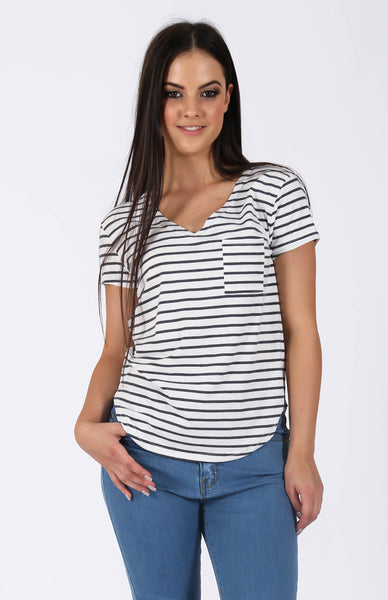 Sidelines White Grey Striped Tee