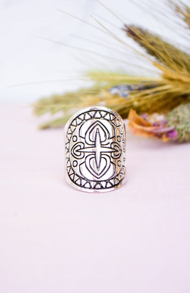 Fire Warrior Ring - Antique Silver