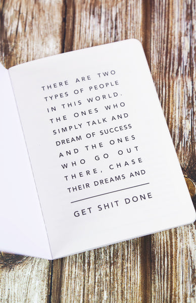Get Shit Done: Minimal A6 Notebook - Mint Inside