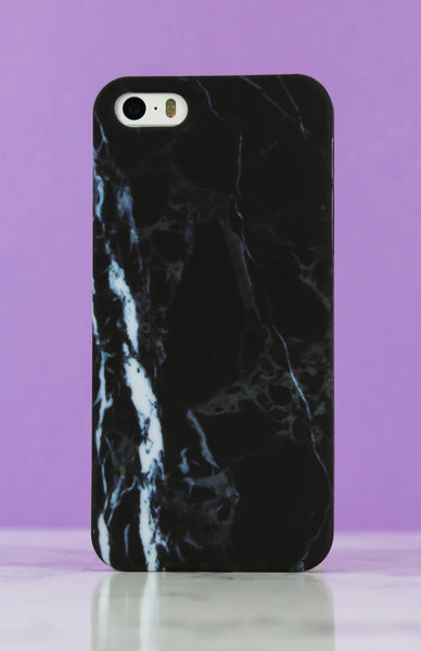 Matte Black Marble iPhone Case - 5/5S Rollover