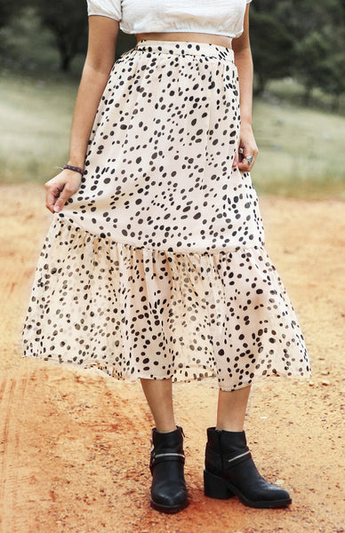 Moon Dance Skirt - Beige & Black Spot Lookbook