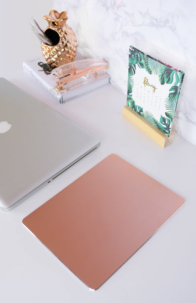 Work Hard Play Hard Mouse Pad - Rose Gold