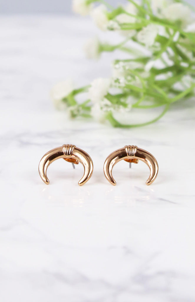 Horn Earrings - Rose Gold