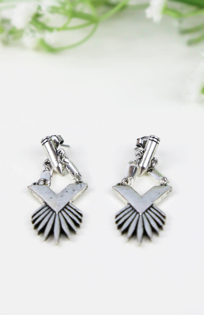 Peacock Earrings - Silver