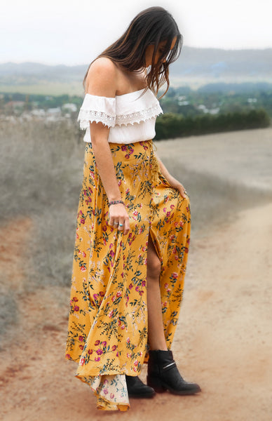 Rocky Oaks Yellow Floral Maxi Skirt Lookbook