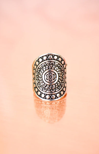 Sun Warrior Ring - Antique Silver Rollover