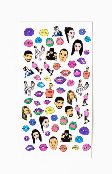 Fingers On Fleek Nail Decals - Celebrity Kiss Close Up