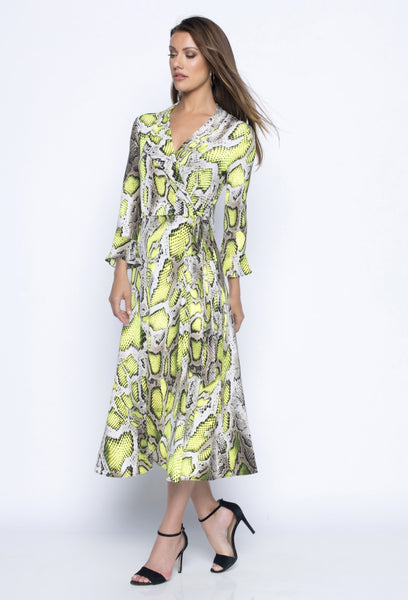 FRANK LYMAN SNAKE PRINTED WRAP DRESS