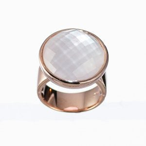 Reign White Crystal and Mother of Pearl Ring - Nica's Clothing & Accessories