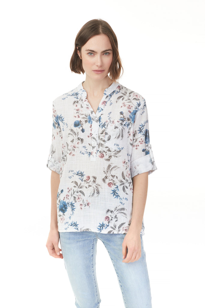 PRINTED COTTON ROLL-UP TOP