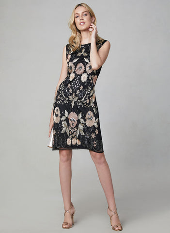 EMBROIDERED SHEATH DRESS