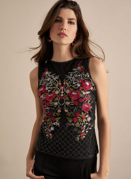 EMBROIDERED SEQUIN TOP- 208110U