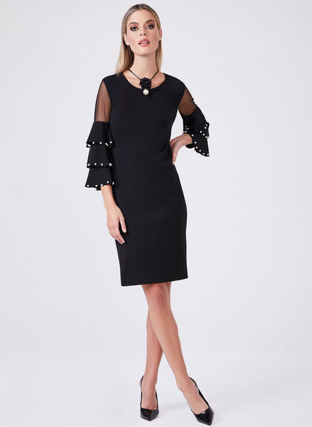 RUFFLE BELL SLEEVE DRESS