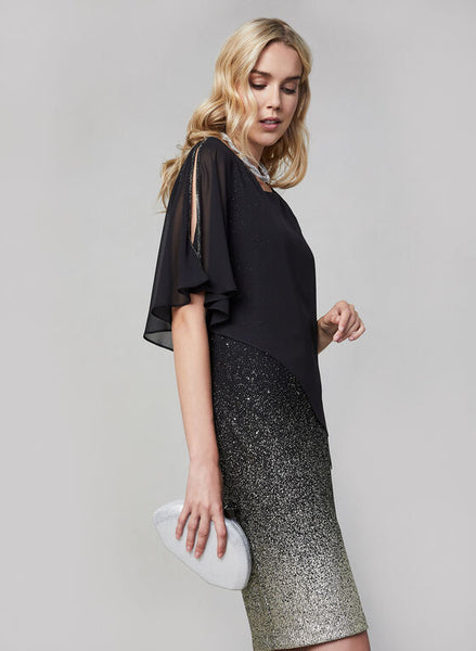 CHIFFON OVERLAY GLITTER DRESS