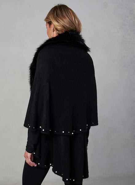 FAUX FUR TRIM CAPE