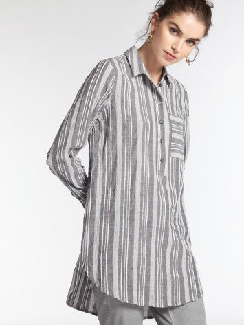 LONG BLOUSE WITH WOVEN STRIPES