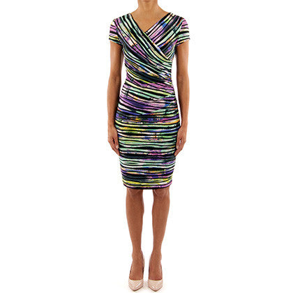 Joseph RIbkoff - Multicolored deep V rainbow dress - Nica's Clothing & Accessories - 2