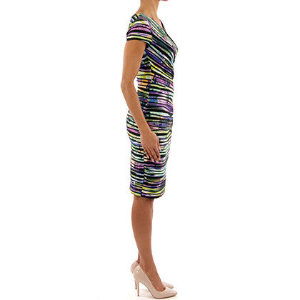 Joseph RIbkoff - Multicolored deep V rainbow dress - Nica's Clothing & Accessories - 4