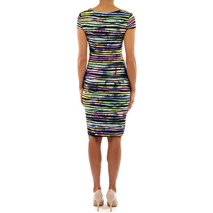 Joseph RIbkoff - Multicolored deep V rainbow dress - Nica's Clothing & Accessories - 3