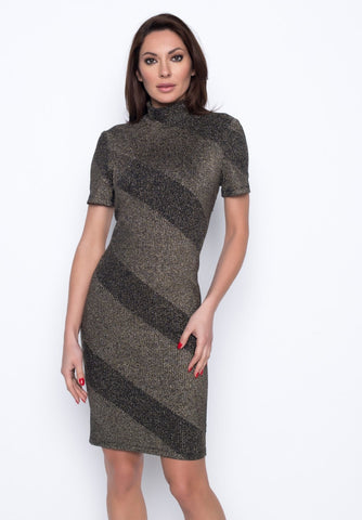 SPARKLE MOCK NECK DRESS