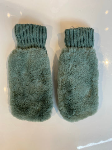 OXO FUR FAUX MITTENS