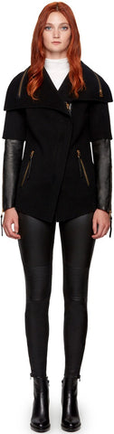 CECE S DOUBLE FACE WOOL JACKET WITH LEATHER SLEEVES